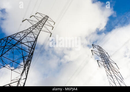 Electricity pylons abstract angle, England, UK - Stock Photo