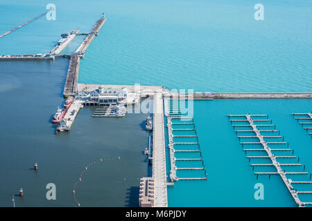 Aerial view of DuSable harbor where the Chicago River meets Lake Michigan - Stock Photo