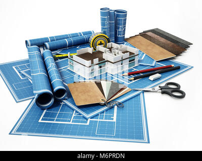 Home decorating tools standing on house bluprints. 3D illustration. - Stock Photo