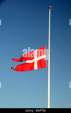 The danish flag Dannebrog on half mast, a seagull sits on the op of he flagpole - Stock Photo