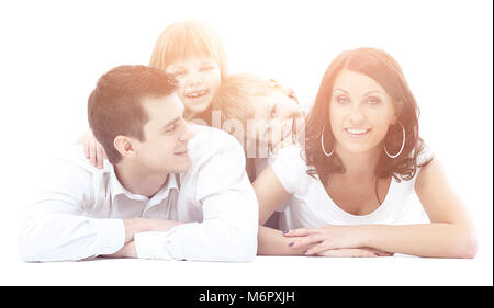 Portrait of a happy four-member family. - Stock Photo