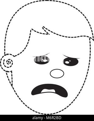 depressed and sad young face man vector illustration dotted line image - Stock Photo