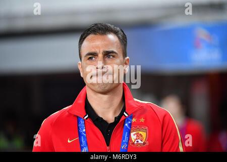 Guanghzou, China's Guangdong province. 6th Mar, 2018. Head coach of Guangzhou Evergrande Fabio Cannavaro reacts - Stock Photo