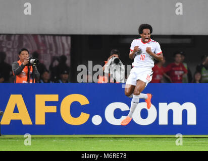 Guanghzou, China's Guangdong province. 6th Mar, 2018. Magno Cruz of Jeju United celebrates after scoring during - Stock Photo