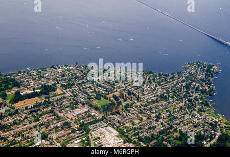 Seattle, Washington.  Aerial view of Laurelhurst. An upper class residential neighborhood in Seattle, Washington. - Stock Photo