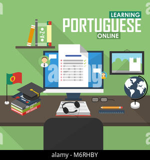 Flat design illustration concept of learning Portuguese language online, distance education and online training - Stock Photo