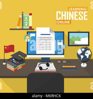 Flat design illustration concept of learning Chinese language online, distance education and online training courses. - Stock Photo