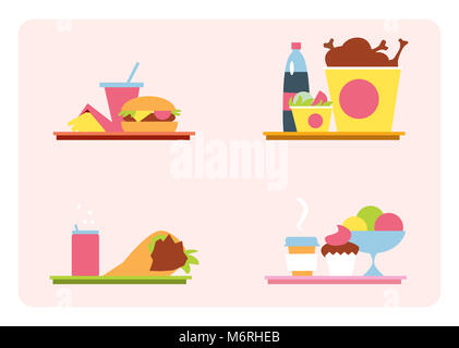 Sets with fast food on a tray. Set of illustrations fast food meal. Fast food in a flat style, graphics. - Stock Photo