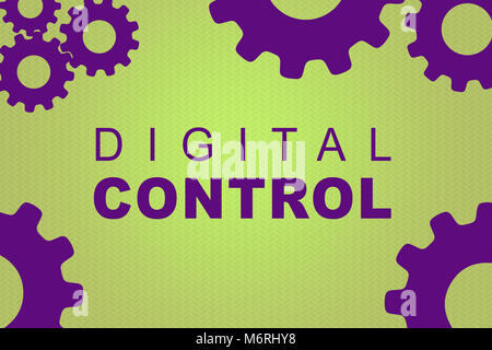 DIGITAL CONTROL sign concept illustration with purple gear wheel figures on pale green background