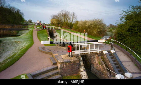Foxton Locks are ten canal locks consisting of two 'staircases' each of five locks, located on the Leicester line - Stock Photo