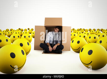 Alone desperate businessman in the middle of happy smileys . 3D Rendering - Stock Photo