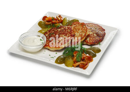Layout for menu. Draniki, traditional russian potato pancakes with pickled vegetables - Stock Photo