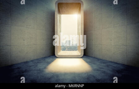 abstract concrete door and city background 3d rendering image - Stock Photo