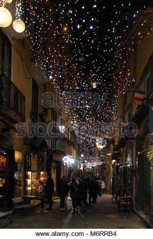 lighting artist in Salerno, Italy - Stock Photo