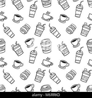 Cup, mug, and glass for the beverage, hand-drawn doodle seamless background for decorations. Vector illustration. - Stock Photo