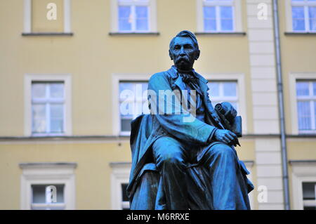 Statue of playwright Aleksander Fredro in Rynek Square, Wroclaw, Poland - Stock Photo