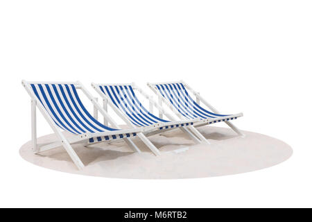 Three blue and white striped beach chair on the sand beach isolated on white background - Stock Photo