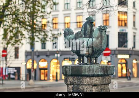 The Dyrefontene or Pet Fountain - sculpture of three checken or hens by Skule Waksvik. Landmark of Norwegian capital. - Stock Photo