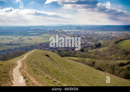 View from the top of Glastonbury Tor over the Somerset Levels - Stock Photo