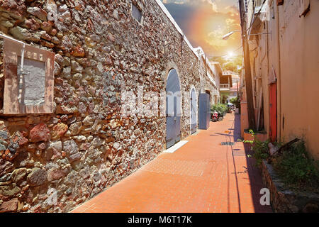 Charlotte Amalie streets in historic town - Stock Photo