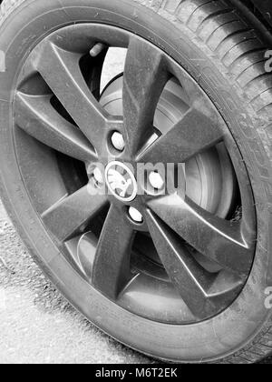 Skoda alloy wheel on four wheel drive vehicle, Czech automobile manufacturer founded in 1895 as Laurin & Klement - Stock Photo