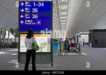 Chek Lap Kok airport, Hong Kong - Stock Photo