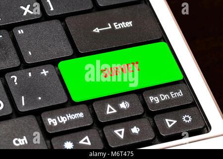 On the laptop keyboard the green button written SURVEY. - Stock Photo