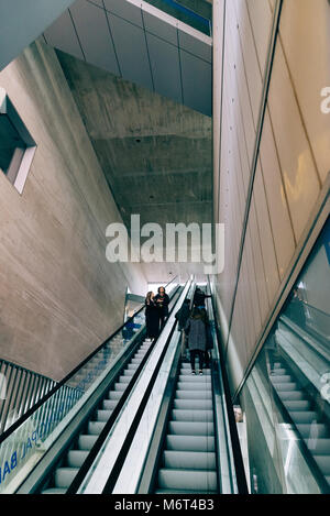 Madrid, Spain - November 3, 2017: Main staircase of Mercado Barcelo in Madrid. It is a modern architecture building - Stock Photo