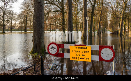 Deventer, The Netherlands - January 8, 2018: Flood in Deventer at the river IJssel in Gelderland with the flooded - Stock Photo