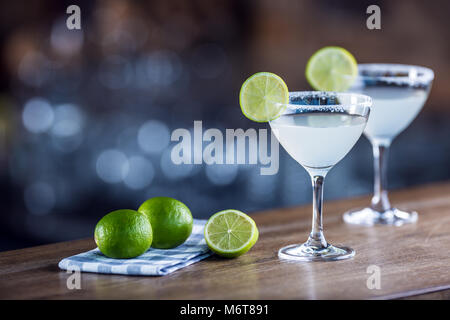 Margarita. Margatita alcoholic cocktail drink on barcounter in pub or restaurant. - Stock Photo