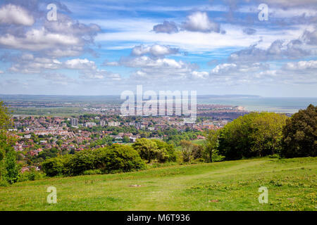 Eastbourne seaside resort viewed from the South Downs Way, a long distance footpath and bridleway along the South - Stock Photo