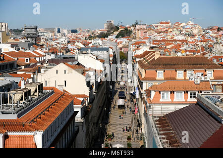 View from the Triumphal Arch of Augusta street, Lisbon, Portugal - Stock Photo