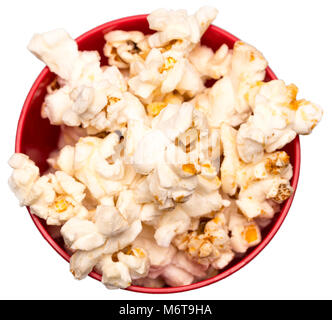 popcorn in a red bowl top view.