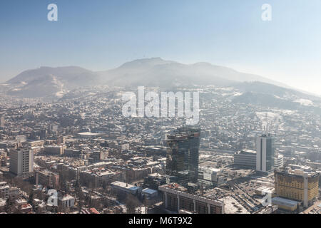 SARAJEVO, BOSNIA HERZEGOVINA - FEBRUARY 16, 2018:  Aerial Picture of the newer part of Sarajevo during a snow winter - Stock Photo