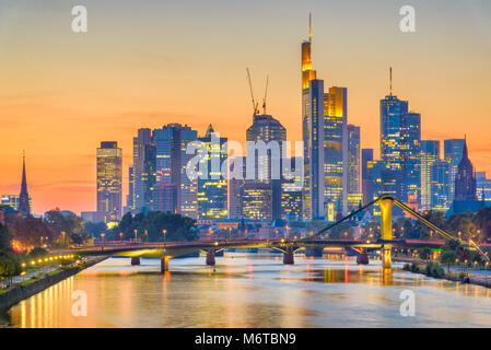 Frankfurt, Germany skyline over the Main River. - Stock Photo