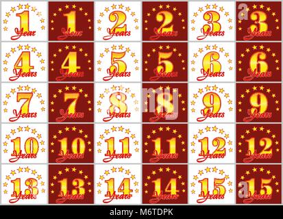 Set of gold numbers from 1 to 15 and the word of the year decorated with a circle of stars. Vector illustration - Stock Photo