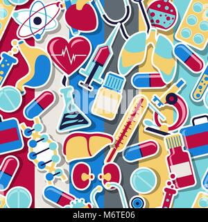 Medical and health care seamless pattern - Stock Photo