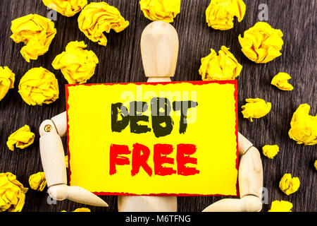 Announcement text showing Debt Free. Concept meaning Credit Money Financial Sign Freedom From Loan Mortage written - Stock Photo