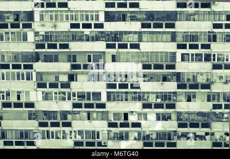 Communist era apartment block in Romania. Abstract image of flat built in communism era. East european block of - Stock Photo