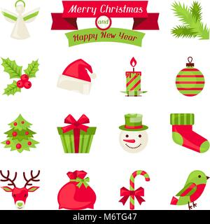 Merry Christmas and Happy New Year icons - Stock Photo