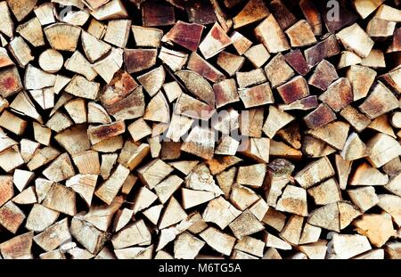 Stack of firewood. Renewable resource of a energy. Environmental concept.Close-up of a stack of firewood. Pile of - Stock Photo