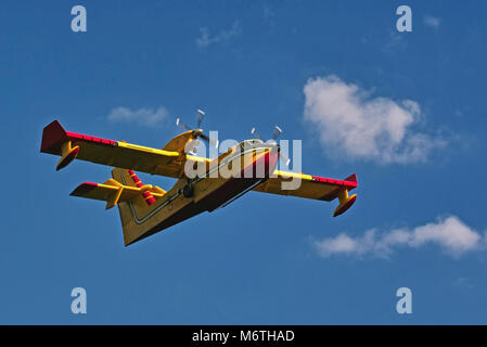 bombardier 415,  canadian amphibious aircraft in flight - Stock Photo