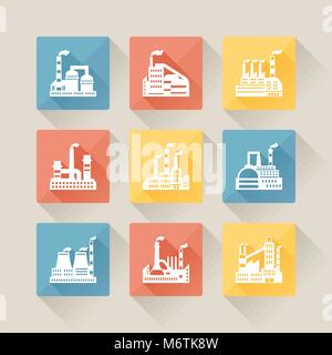 Industrial factory buildings icons set in flat design style - Stock Photo