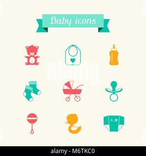 Newborn baby icons set in flat design style - Stock Photo