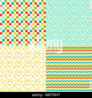 Happy Easter set of seamless patterns - Stock Photo