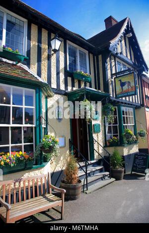 The Greyhound Pub, Lavenham village, Suffolk County, England, UK - Stock Photo