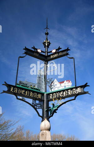 Tourist Information Sign, Lavenham village, Suffolk County, England, UK - Stock Photo