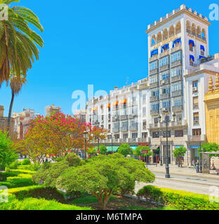 Seville, Spain- June 08, 2017 : Streets in downtown of the city Seville - is the capital and largest city of the - Stock Photo