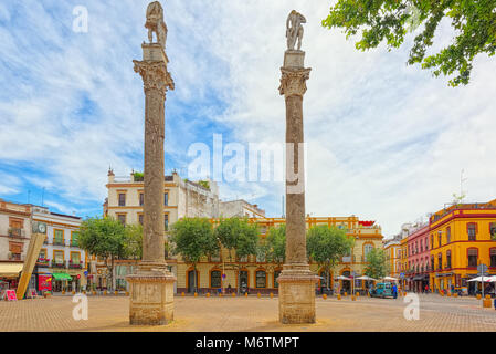 Seville, Spain - June 08, 2017 : Column Alameda de Hercules in downtown of the city Seville - is the largest city - Stock Photo