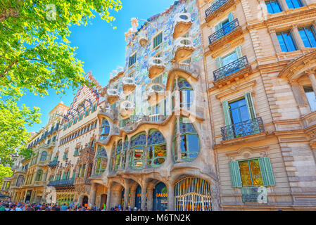 Barcelona, Spain - June 12, 2017 : Outdoor view  Gaudi's  creation-house Casa Batlo. The building that is now Casa Batllo was built in 1877 by Antoni